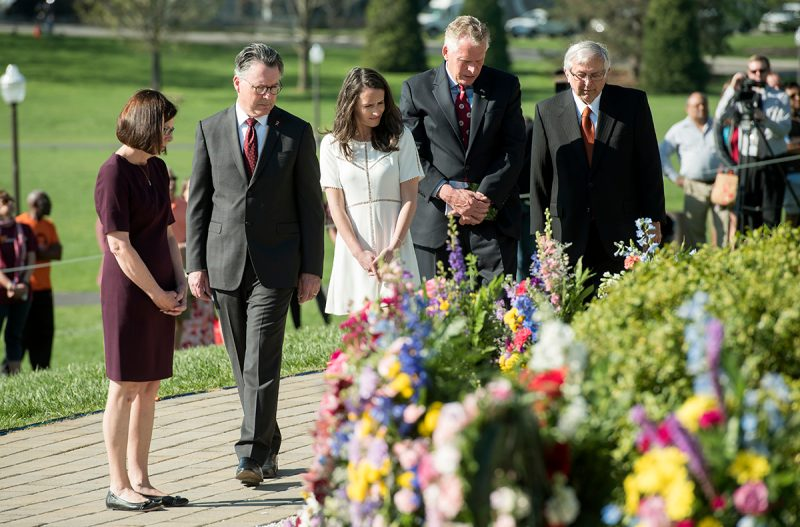 Virginia Gov. Terry McAuliffe, Virginia Tech President Tim Sands, and President Emeritus Charles Steger will participate in a wreath-laying ceremony prior to the 9:43 a.m. statewide moment of silence.